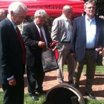 Bill Samuels Jr. with Kentucky Governor Steve Beshear on a tour at Maker's Mark Distillery in Loretto, KY as Maker's 46 is released