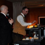 "César Perez-Ribas presents his ""Lemon Hayride"" cocktail to the judges"
