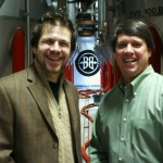 Tom Fischer with Todd Usry Brewmaster Breckenridge Brewery, tasting the Stranahan's Well Built E.S.B.