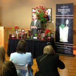Woodford Reserve Master Distiller Chris Morris shows a thirsty audience of guests and journalists how he will make the $1000 Dollar and $2000 Mint Juleps during 2012 at Churchills Downs for Kentucky Derby 138