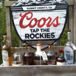 Breckenridge Distillery's outhouse racer was built with it's own branded bar featuring Breckenridge spirits and a Coors Beer sign
