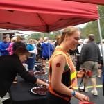 A runner at Bourbon Chase enjoys a Four Roses Small Batch Bourbon Truffle at Four Roses Distillery