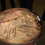 All of us autographed a the selected barrel of Bourbon which Seven Brand will keep