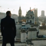 James Bond in Skyfall overlooks the Uniion Jack Flags flying over London after the death of M