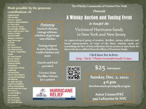 Whisky Auction and Tasting Event Sandy Victims New York