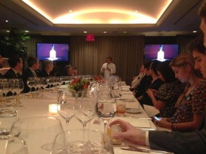 Chef Daniel Boulud leads guests through the flavors at the VIP dinner and whisky tasting